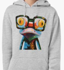 Hipster Frog Nerd Glasses Pullover Hoodie