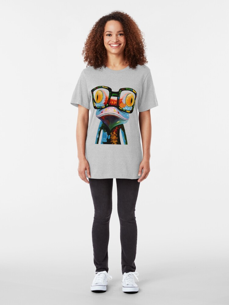 Vista alternativa de Camiseta ajustada Hipster Frog Nerd Glasses
