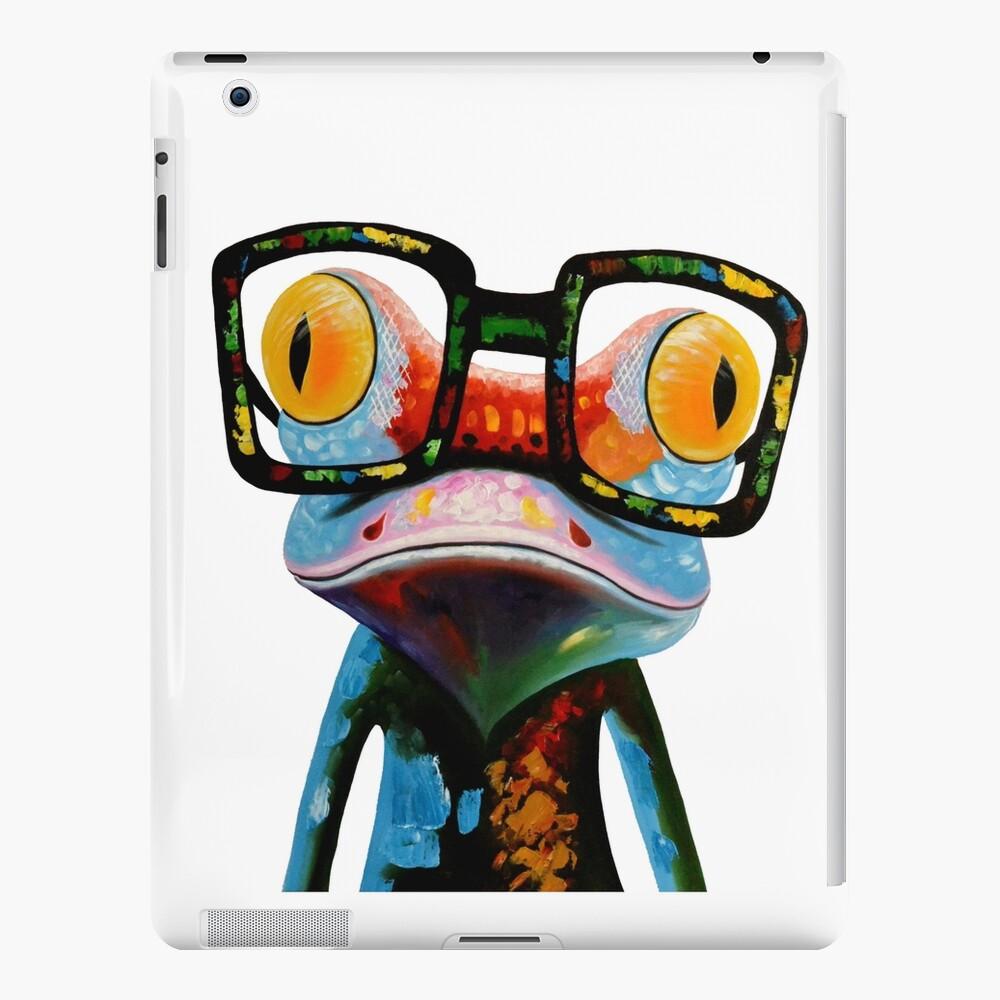 Hipster Frog Nerd Glasses Funda y vinilo para iPad