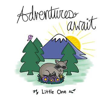 Adventures Await Little Raccoon by HoneybethStudio