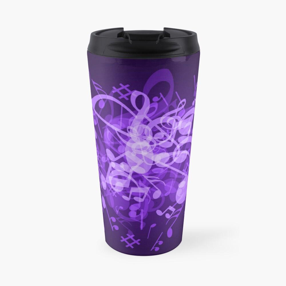 Purple Glow Music Notes Travel Mug