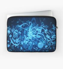 Blue Glow Music Notes Laptop Sleeve