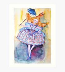 Venice Parasol Girl Art Print