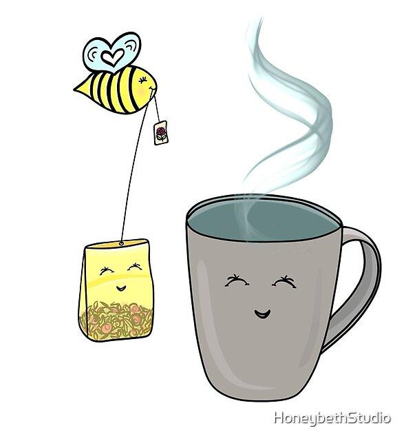 Tea Time with a Sweet Honeybee by HoneybethStudio