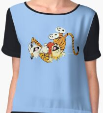 Calvin and Hobbes happy Women's Chiffon Top