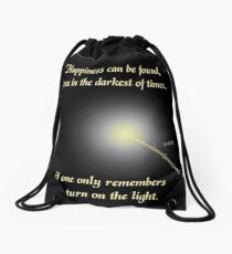 HP happiness quote Drawstring Bag