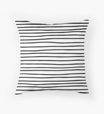 Modern simple trendy black white striped pattern Throw Pillow