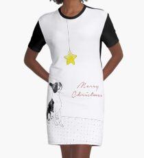 A Boston Terrier Christmas Graphic T-Shirt Dress