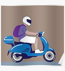 Man on scooter Poster