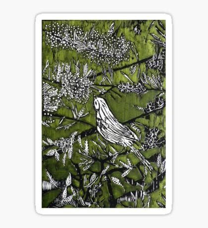 Australian Bird Woodcut 1 (Olive Green) Sticker