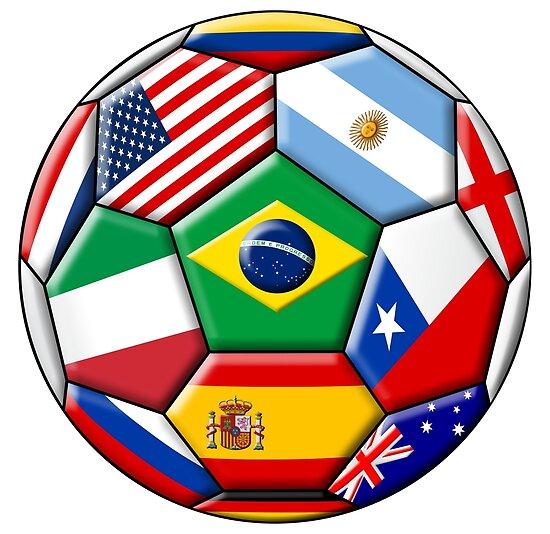 Brasilien 2014 - Fußball mit verschiedenen Flaggen von siloto
