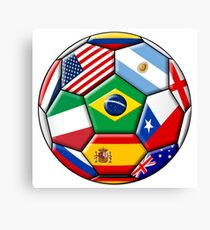 Brazil 2014 - soccer with various flags Canvas Print