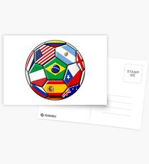 Brazil 2014 - soccer with various flags Postcards
