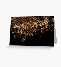Happy New Year Gold Fireworks  Greeting Card