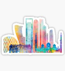 Abu Dhabi V2 landmarks watercolor poster Sticker