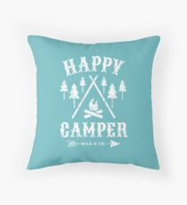 Happy Camper distressed white Kissen