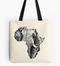 African Elephant in Shape of Africa Tote Bag
