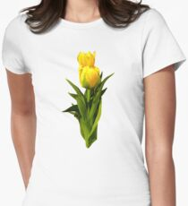 Yellow Tulips Tall and Short Womens Fitted T-Shirt