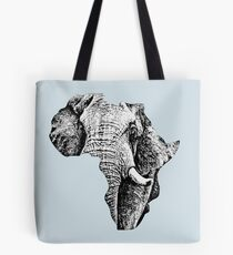 African Bull Elephant in Shape of Africa Tote Bag
