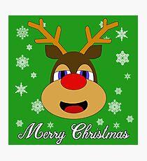 Reindeer Merry Christmas Photographic Print