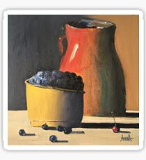 Still life oil painting. A Jag with the blueberries. Kitchen theme painting. Blueberries painting. Berry painting. Kitchen decor.  Sticker