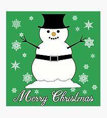 Snowman Merry Christmas Photographic Print