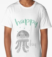 Happy Smiling Pi Octopus - Pi Day Long T-Shirt