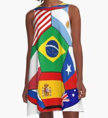 Soccer with various flags - Brazil 2014 A-Line Dress