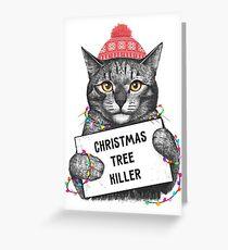 Weihnachtsbaum-Killer Grußkarte