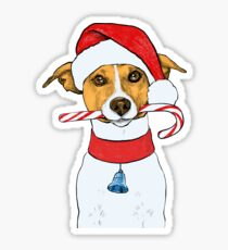 Pegatina Lindo Jack Russel Puppy Christmas Dog