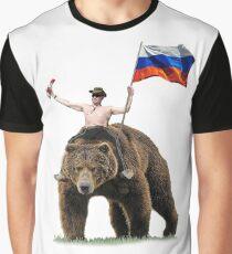 Putin Wodka Bär Trainingsanzug Hardbass Grafik T-Shirt