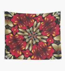 Tropical Red Mandala Kaleidoscope Wall Tapestry