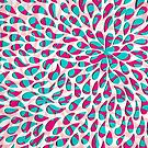 Organic Petals Pattern Pink Turquoise by raquelcatalan