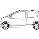 Renault Twingo Outline Artwork (single Car) by RJWautographics