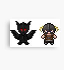Dragonborn & Alduin pixel art Canvas Print