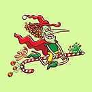 Halloween witch flying on a Christmas candy cane by Zoo-co