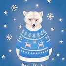polar bear in christmas sweater by EllenLambrichts