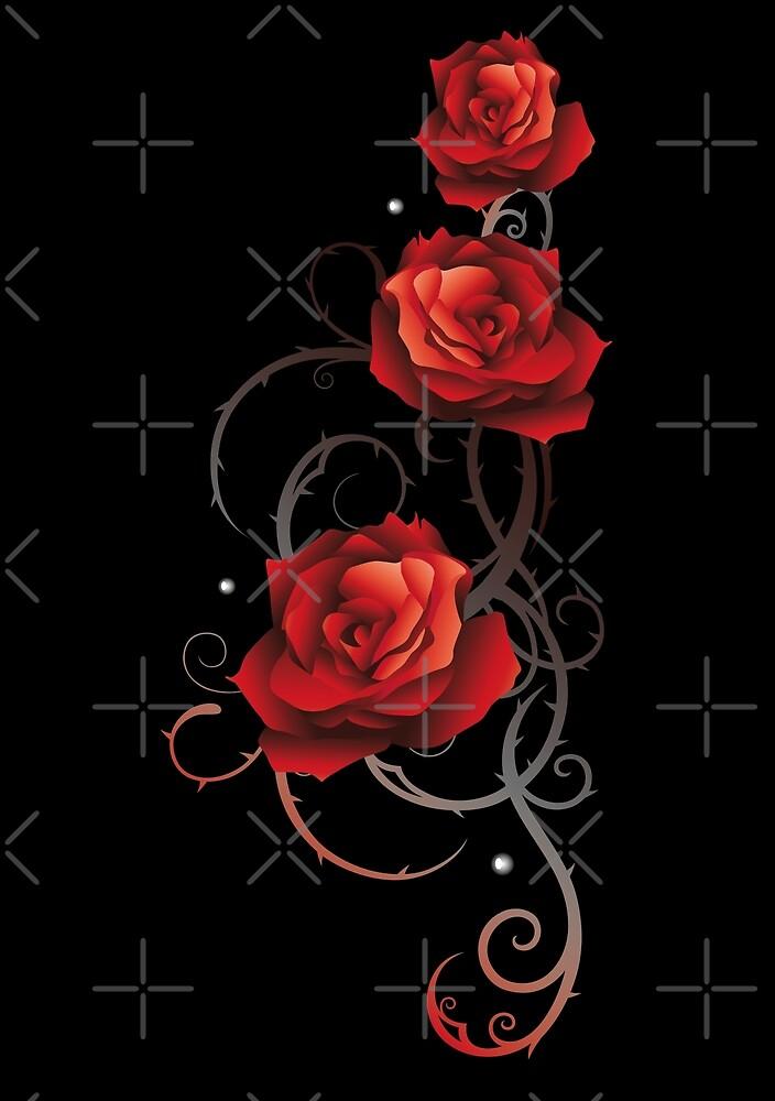 Rote Rosen mit Dornen und Blättern. von Christine Krahl