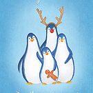 family of festive christmas penguins by EllenLambrichts