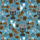 Verrücktes MonkeyTeddyBears Muster von XOOXOO