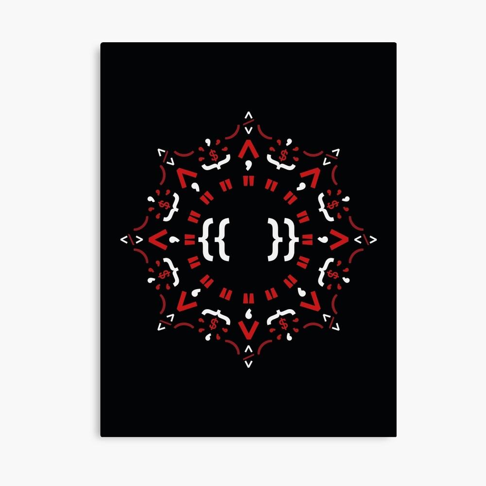 Code Mandala - Eckiges Framework - dunkle Version Leinwanddruck