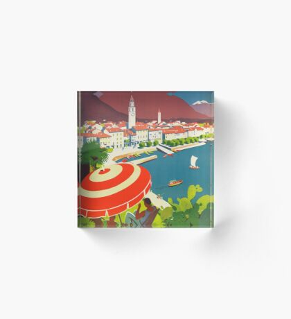 Vintage Ascona Switzerland Travel Advertisement Art Posters Acrylic Block