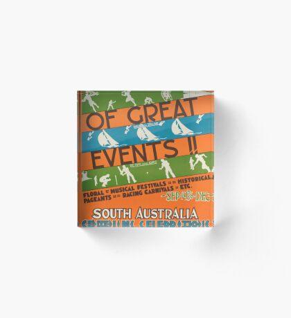 Vintage South Australia Travel Advertisement Art Poster Acrylic Block
