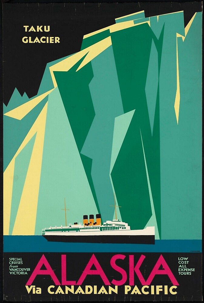 Vintage Alaska Travel Advertisement Art Poster by jnniepce