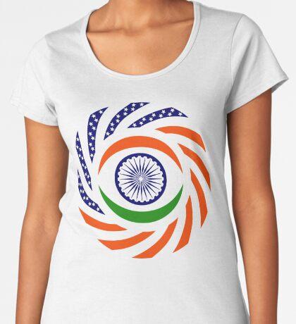 Indian American Multinational Patriot Flag Series Premium Scoop T-Shirt