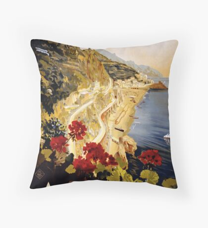 Vintage Amalfi Italy Travel Advertisement Art Poster Throw Pillow