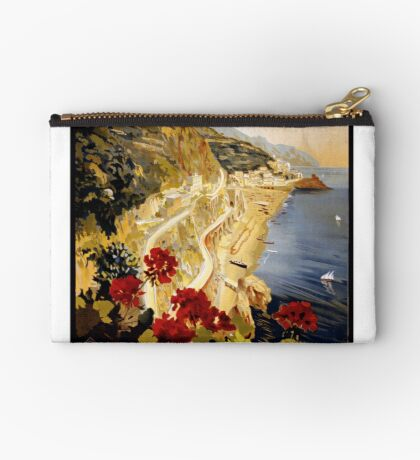 Vintage Amalfi Italy Travel Advertisement Art Poster Zipper Pouch