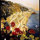 Vintage Amalfi Italy Travel Advertisement Art Poster by jnniepce
