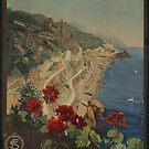 Vintage Amalfi Napoli Italy Travel Advertisement Art Poster by jnniepce