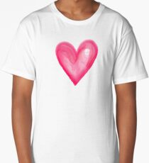 Hand Painted Pink Watercolor Love Heart Long T-Shirt